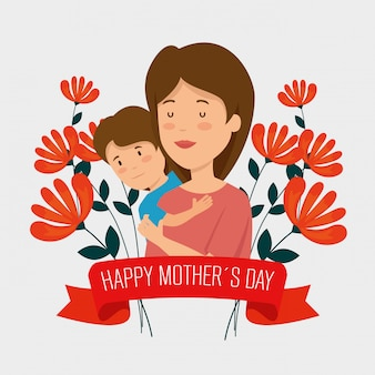 Vrouw met haar zoon en bloemenplanten met lint