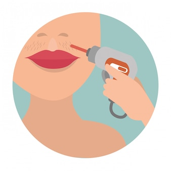 Vrouw met haarverwijderingsapparaat