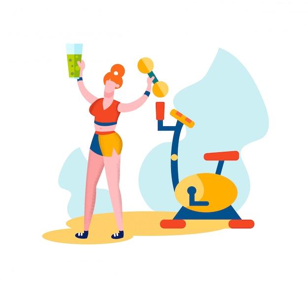 Vrouw met halter en smoothies in de hand.