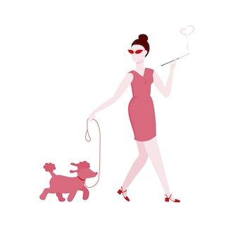 Vrouw met hond en mondstuk de vrouw gaat en rookt wandelen met de hond stock vector