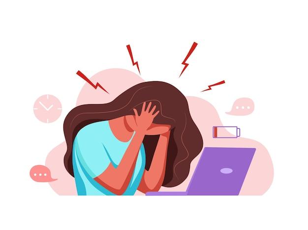 Vrouw met hoofdpijn migraine met haar hoofd cartoon vectorillustratie benadrukt ongelukkig?