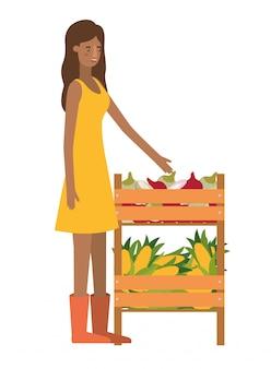 Vrouw met houten mandje met tag avatar karakter