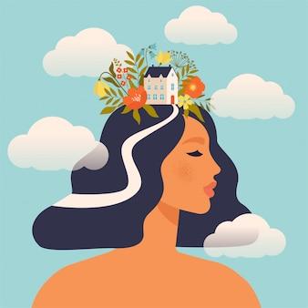 Vrouw met huis en bloemen op het hoofd dat door wolken wordt omringd