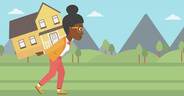 Vrouw met huis vectorillustratie.