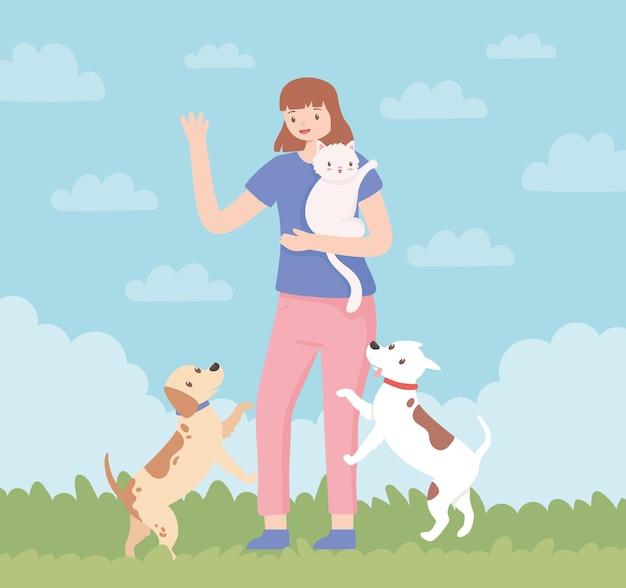 Vrouw met huisdieren cartoon