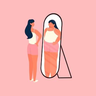 Vrouw met ideale lichamen kijkt zichzelf in de spiegel en voelt zich onzeker en dik menselijk karakter illustratie