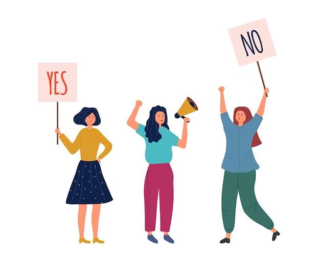 Vrouw met infoborden. ja nee banners, protest en geaccepteerde of negatieve en positieve keuze. meisjes demonstratie of stemmen vectorillustratie. vrouwenprotest, activistische politieke campagne