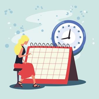 Vrouw met kalenderplanner
