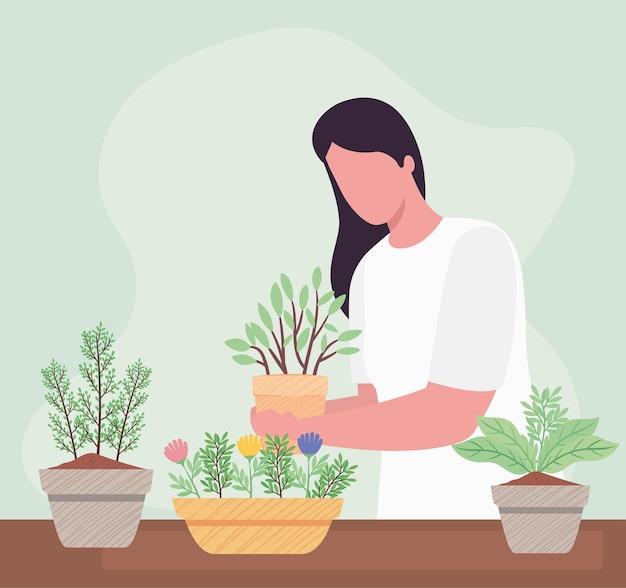 Vrouw met kamerplanten tuinieren activiteit karakter illustratie