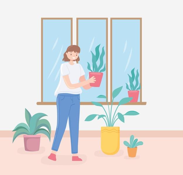 Vrouw met kamerplanten