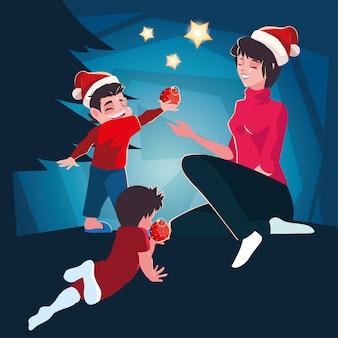 Vrouw met kinderen in de scène van de kerstmisavond