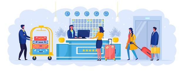 Vrouw met koffers staat bij de receptie. check in het hotel. receptioniste verwelkomt de gast.