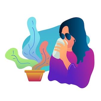 Vrouw met koffie illustratie plat ontwerp