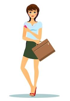 Vrouw met korte groene rok, blauw t-shirt en rode hoge hakken