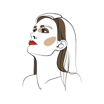 Vrouw met lang haar en rode lippenstift