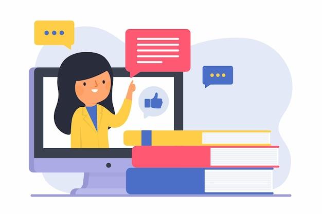 Vrouw met lang haar online onderwijs