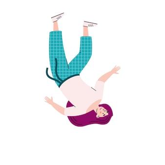 Vrouw met lang haar zwevend in de lucht cartoon vectorillustratie geïsoleerd