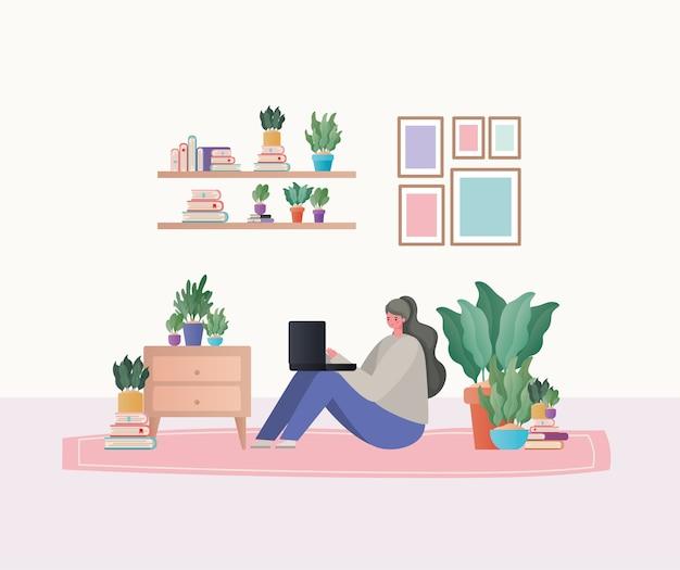 Vrouw met laptop bezig met tapijtontwerp van het thema werk vanuit huis