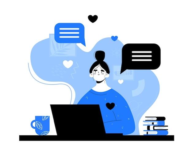 Vrouw met laptop communiceert op internet. online dating. chatten met vrienden.