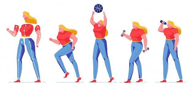 Vrouw met lichaam positief denken constructor.
