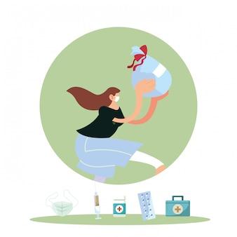 Vrouw met masker en medische producten