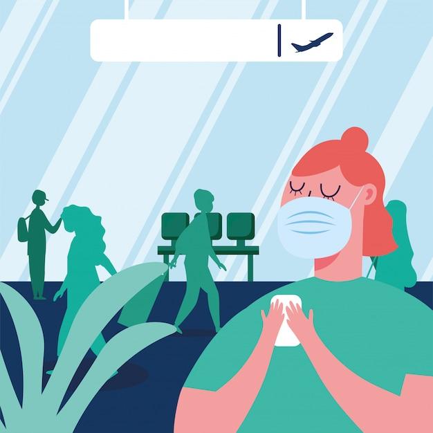 Vrouw met masker op de luchthaven
