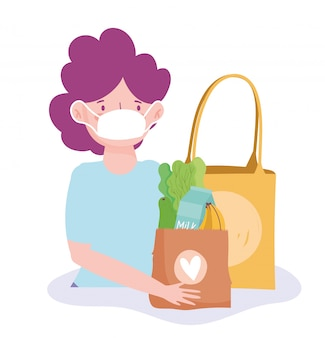 Vrouw met medische masker en papieren zakken supermarkt illustratie