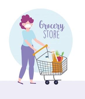 Vrouw met medische masker en winkelwagen markt, levering van levensmiddelen in de supermarkt illustratie
