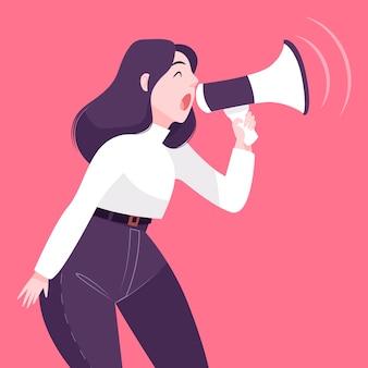 Vrouw met megafoon geïllustreerd gillen