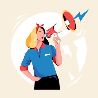 Vrouw met megafoon gillen