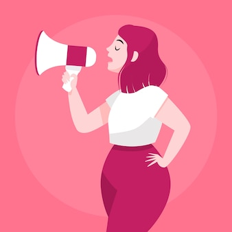 Vrouw met megafoon gillende illustratie