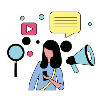 Vrouw met mobiele sociale media pictogrammen