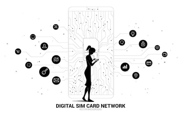 Vrouw met mobiele telefoon en punt verbinden lijn met simkaart pictogram illustratie.