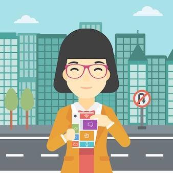Vrouw met modulaire telefoon