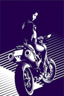 Vrouw met motorfiets