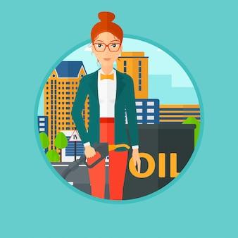 Vrouw met olievat en benzinepomppijp.