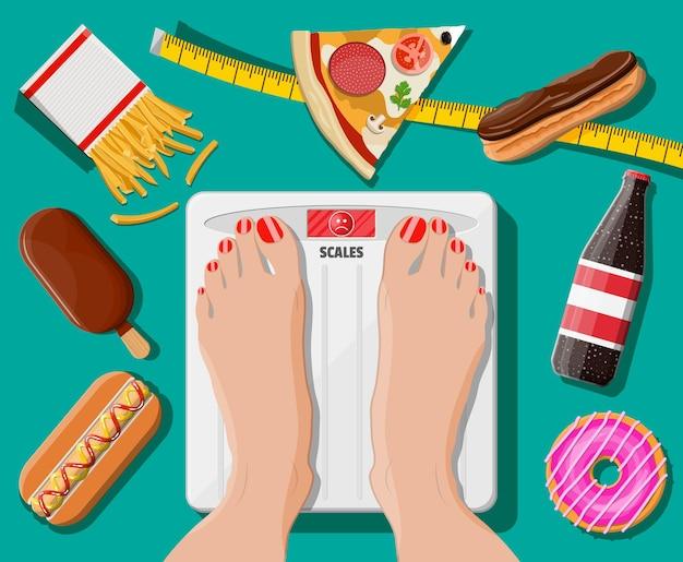 Vrouw met overgewicht die op de weegschaal staat, fastfood op de vloer
