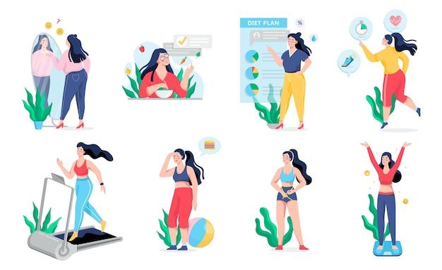 Vrouw met overgewicht wordt een dun proces. idee van fitness en gezonde voeding. gewichtsverlies proces. vrouw met dikke buik, persoon lijdt aan obesitas. illustratie in cartoon-stijl