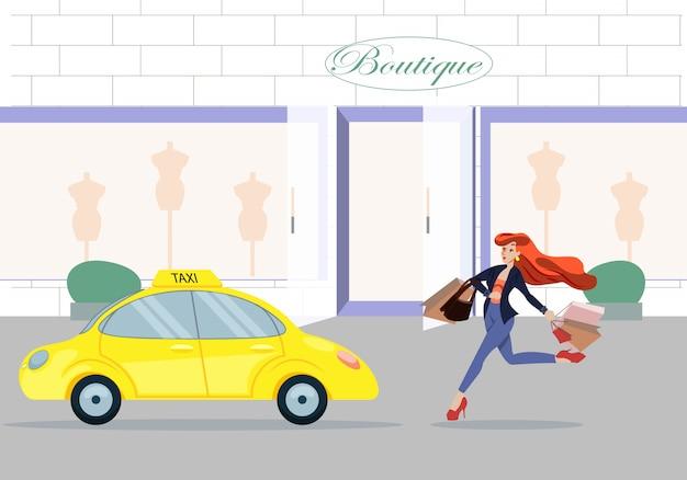 Vrouw met papieren boodschappentassen gaan naar taxi