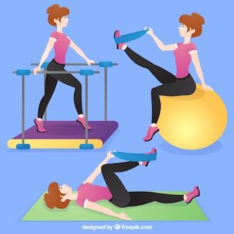 Vrouw met rehabilitatie oefeningen