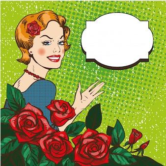 Vrouw met rozen boeket in pop-art stijl