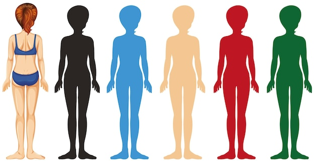 Vrouw met silhouet in verschillende kleuren