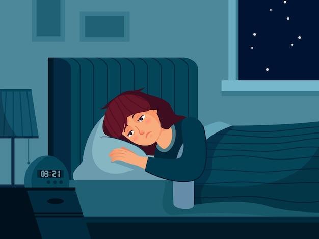 Vrouw met slapeloosheid.