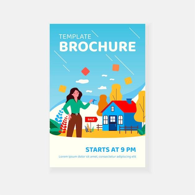 Vrouw met sleutels van huis te koop en glimlachend brochure sjabloon
