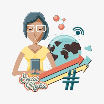 Vrouw met smartphone sociale media pictogrammen