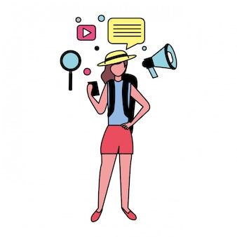 Vrouw met sociale media pictogrammen