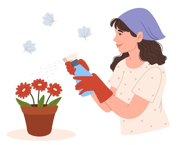 Vrouw met spray fles kamerplanten spuiten