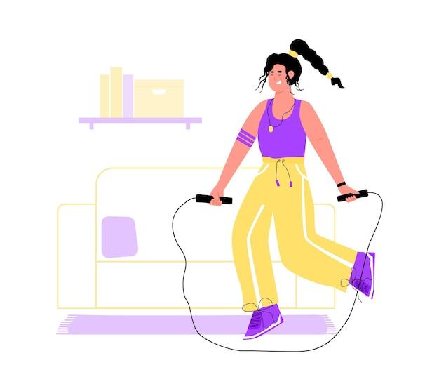 Vrouw met springtouw thuis fitness oefening