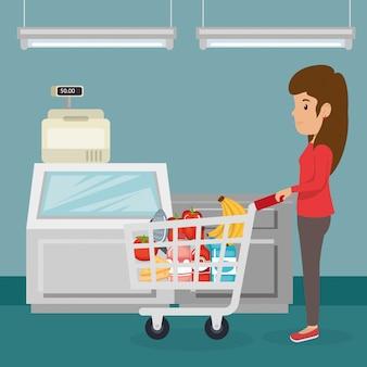 Vrouw met supermarkt boodschappen