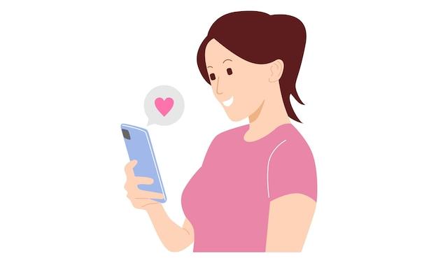 Vrouw met telefoon met liefde opduiken